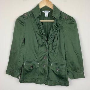 White House Black Market Army Green Jacket Sz 2